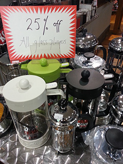 25% off glass plungers